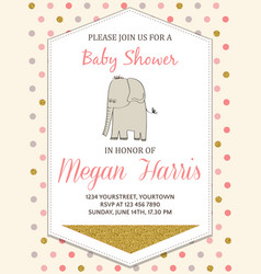 Beautiful baby shower card template with golden vector