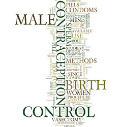 Methods of male birth control text background vector