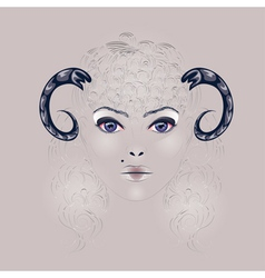 Sheep as girl with horns vector