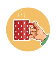 Tea cup in hand icon vector