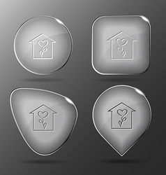 Flower shop glass buttons vector