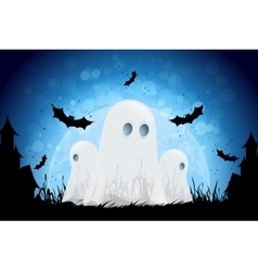 Halloween Background with Moon and Ghosts vector image