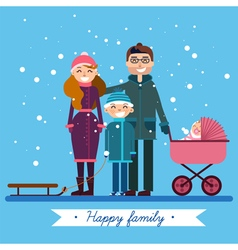 Happy family with newborn baby on winter holiday vector