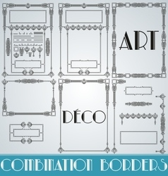 Art deco combination borders vector