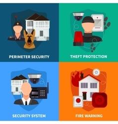 Home Security 2x2 Design Concept Set vector image