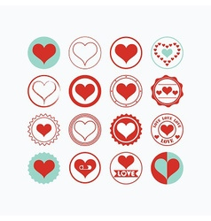 Red and teal heart symbols circle icons set vector