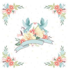 Wedding invitation with ribbon flowers and birds vector