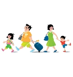 Funny family in airport goes on vacation vector image