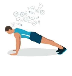 Man male push up gym workout exercise vector