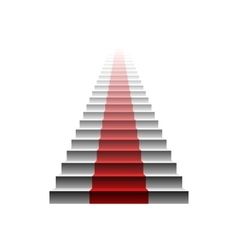 3d image of red carpet on white stair stairs red vector