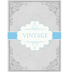 Vintage framed background with label vector