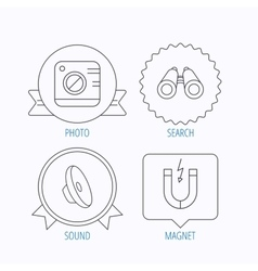 Photo camera magnet and sound icons vector