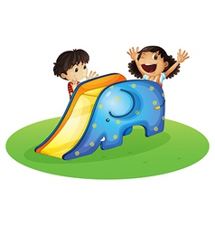 A boy and a girl playing happily vector