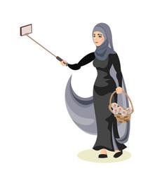 arab woman taking selfie vector image