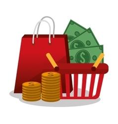Bag coins bills and basket design vector