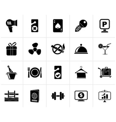 Black Hotel and motel services icons 2 vector image