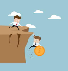 businessman holding money coin hanging on cliff vector image