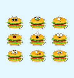 Cartoon burger cute character face sticker vector