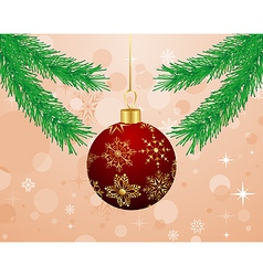 christmas background with branch and ball - vector image