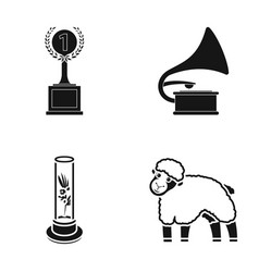 Cup gramophone and other web icon in black style vector