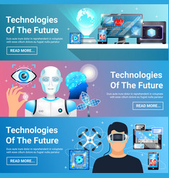 future technologies banners set vector image vector image
