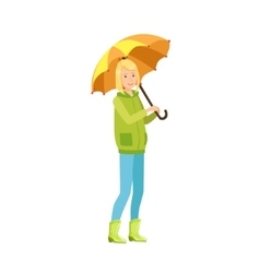 Girl in warm autumn clothes walking outside in vector