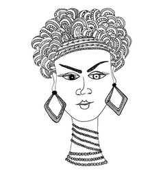 Hand draw woman in african style vector