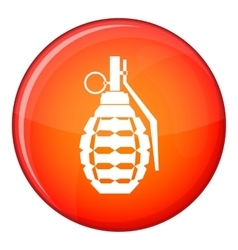 Hand grenade bomb explosion icon flat style vector