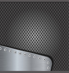 Iron perforated background with metal brushed vector
