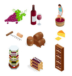 isometric wine production icons collection vector image