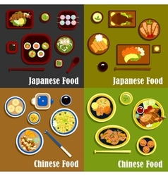 Japanese and chinese cuisine menu vector image vector image