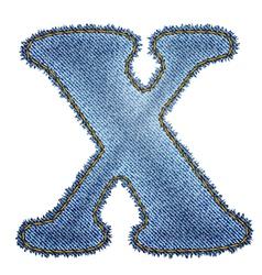 Jeans alphabet Denim letter X vector image vector image
