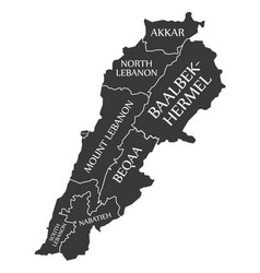 lebanon map labelled black vector image vector image