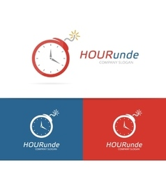 Logo combination of a clock and bomb vector