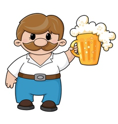 man with beer vector image vector image