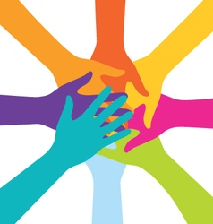 Many Teamwork People Join Colorful Hand vector image vector image