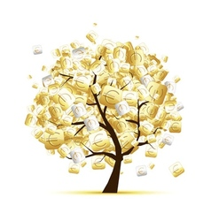 Money tree concept with euro signs for your design vector image