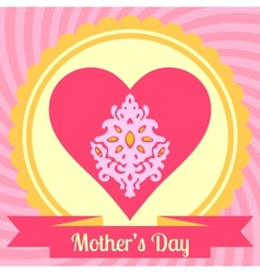 Mothers day card with heart vector image vector image