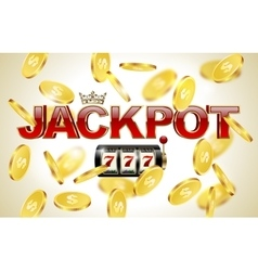 Red glossy jackpot text with crown slot machine vector