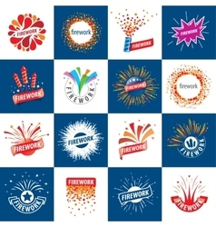 set of logos for fireworks vector image