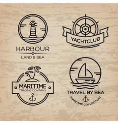 Travel by sea set of maritime collection logo vector