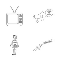 Tv megaphone a man with a poster an airplane vector
