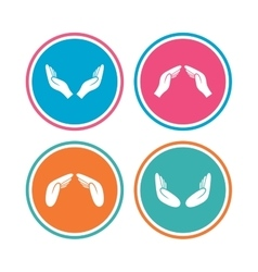Hands icons insurance and meditation symbols vector