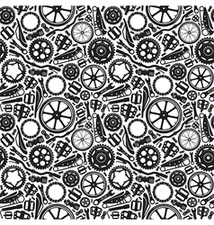 Seamless pattern with image of bicycle details vector image