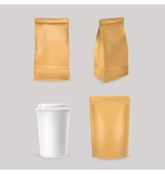 Set icons for fast food packaging vector image
