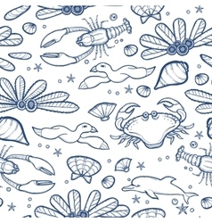 Underwater engraving tropic life seamless pattern vector