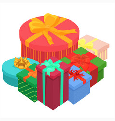 Bright colorful gifts presents boxes flat vector