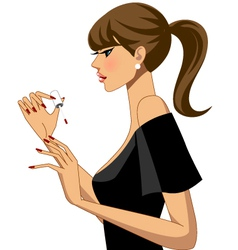 Woman doing her nails vector