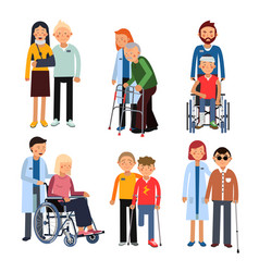Disabled people group or hospital patients and vector