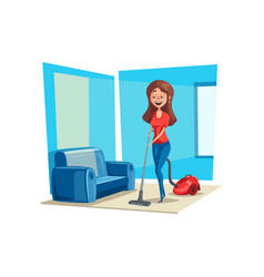 Room cleaning woman in house poster vector